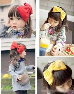 🚚 兒童髮帶 超大蝴蝶結女童髮圈髮飾 薑黃色