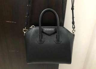 Authentic Givenchy antigona mini black grained leather