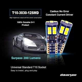 T10 W5W 192 194 Ice Blue Canbus Led Osram 3030 Led Chips Surpass 200 Lumens Built-in Constant Current 恒流 No ± Polarity Guaranteed Ultra Bright Suitable For All Car & Bike Models             Click READ MORE For More Details