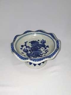 Vintage blue/white Pedestal Fruit Plate