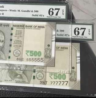 Offer!!!! Pmg 67 EPQ (555555,777777) new indian 500 Rupees Note
