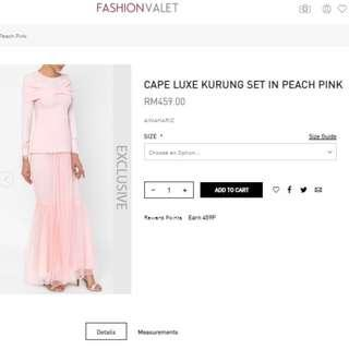 FASHIONVALET'S CAPE LUXE KURUNG SET IN PEACH PINK BAJU KURUNG
