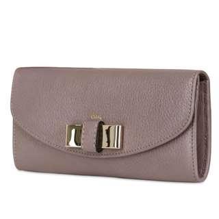 Chloé Gray Lily Long Flap Metallic Bow Wallet 100% Authentic 95% New 購自日本 (有box, dust bag, card) 原價$3xxx
