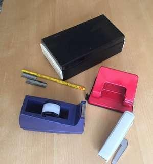 Tape dispenser; paper puncher, stapler, name card holder