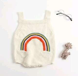 🚚 🌟PM for price🌟 🍀Baby Girl Boy Rainbow Knitted Sleeveless Romper / Girl Long Sleeves Top🍀
