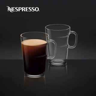 NESPRESSO View Coffee Mugs set of 2 ¤ new in box made in france 法國製玻璃咖啡杯2隻