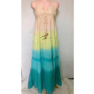 Summer Long Dress Sea Color Scheme