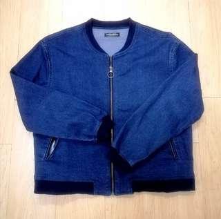 Blue Denim Bomber Jacket