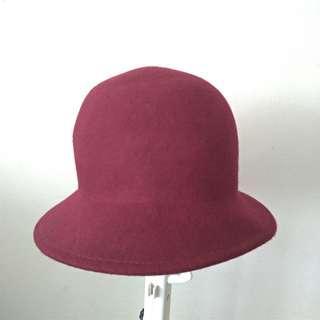 🚚 #1212免運 酒紅色圓帽