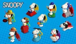2018 麥當勞 Snoopy - 8隻 (棒球款已開袋)  $100