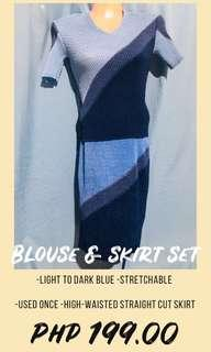 BLUE CASUAL TOP AND SKIRT SET