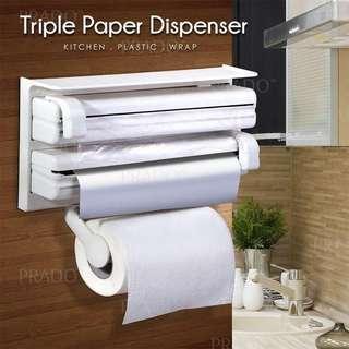 Triple Paper Roll Dispenser Kitchen Wall-Mounted Towel Holder