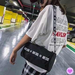 Korean Ulzzang: Retro Athletic Barrel Shoulder Bag