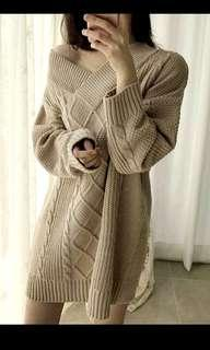 原價2280。正韓 💯Angeldoor 首爾蝶衣 奶茶色麻花V領露肩長袖洋裝 長上衣 韓國製