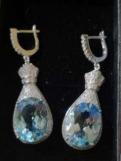 Natural Blue Topaz Earing
