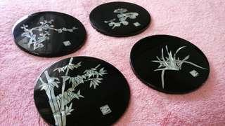 Original Chinese mother-of-pearl inlaid lacquerware coaster set [Free Postage]