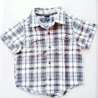 BABY GAP TODDLER CHECKERED COLLARED BUTTON DOWN POLO SHIRT SIZE 18M TO 24M