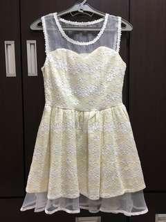 (含運)全新氣質鵝黃色雪紡洋裝