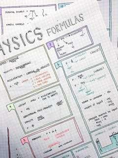 O LEVELS COMBI PHYSICS SUMMARY SHEETS/NOTES [5076/5077]