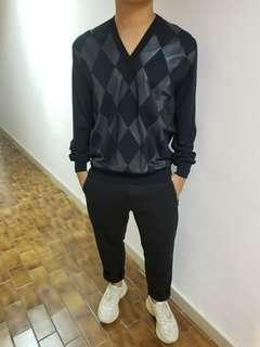 Dior Homme Men lamb leather checkered sweater