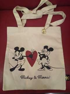 Disney 90 anniversary vintage Mickey and Minnie tote bag 迪士尼 90 週年復古米奇米妮帆布袋