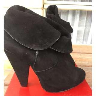FREE POST suede black boots heels