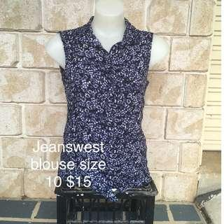 FREE POST jeanswest floral print blouse button up