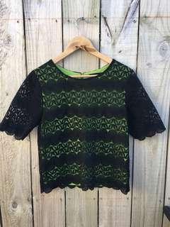 Green + Black Net Top - Size 10