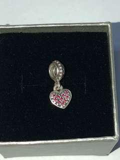 ORIGINAL PANDORA HEART STOPPER CHARM WITH BOX AND PAPER BAG