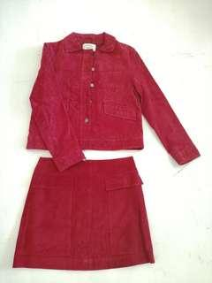 Zara Outerwear  red jacket and skirt terno