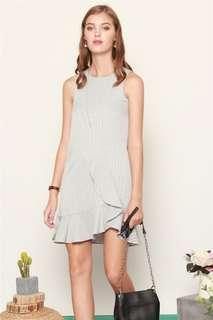 Anticlockwise Overlay Tiered Gingham Dress in Grey