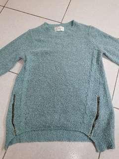 🚚 全新 造型毛衣 湖水綠色