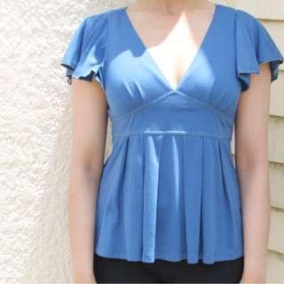 Blue Peplum Top - Size 10