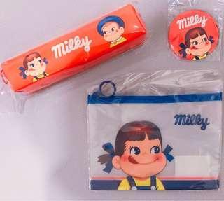 🚚 韓國不二家Peko牛奶妹紅色鉛筆盒、筆袋、收納袋、收納包、小圓鏡、鏡子,正版