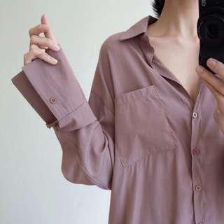 🚚 mooncat 微光澤藕粉色襯衫(賣無釦款)studiodoe