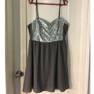 H&M Gray Studded Party Dress