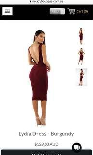 NOOKIE LYDIA DRESS BURGUNDY