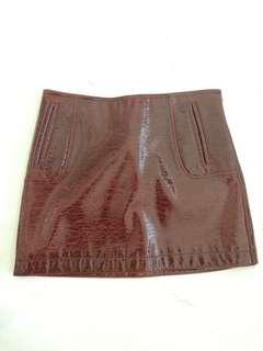 H&M synthetic leather glossy red skirt