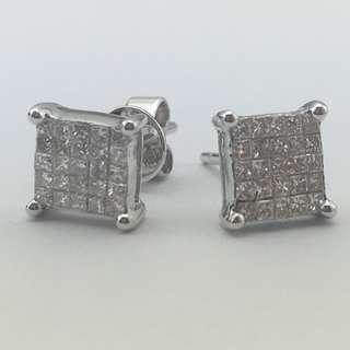 18K白金耳環 44份鑽石 18K Withe gold Earrings 0.44ct Diamond