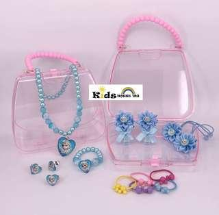 🚚 Frozen (Blue/Pink/Purple) Jewelry / Hair Accessories Gift Set w Bag Storage Box for Girls A044B