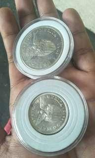 Uspi silver coins (1903s one peso) and (1921 50cent UNC/AU)