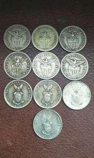 10pcs 20cent USPI coins. (silver) year 1907-17-18-19-21-29-37-41-44-45