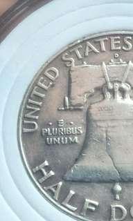 1957 Half dollar bell coin. Doubling strike. (silver)