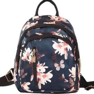 Blue Floral Korean Backpack