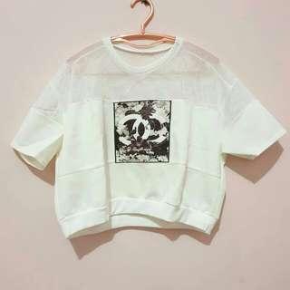 White Chanel Crop
