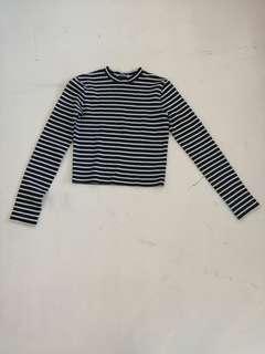 Alexander Wang black and white stripe crop top long sleeves