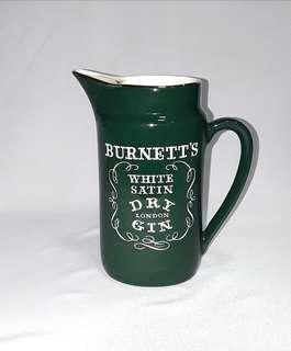 Vintage Burnett's White Satin Dry London Gin Pitcher Jug