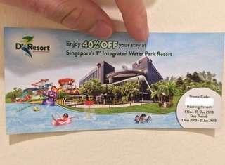 FREE DELIVERY: D'Resort Downtown East 40% OFF Discount Voucher (wild wild wet)