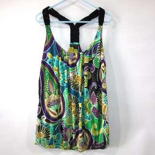 (M-L) Twenty One ladies tops, relaxed printed fabric, gartered waist, rope like shoulder straps