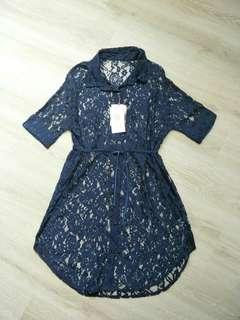 🚚 Salad深藍蕾絲罩衫
